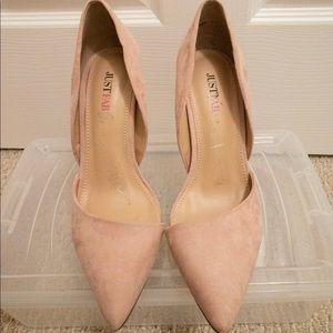 Blush pink faux suede heels